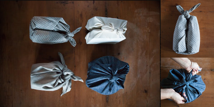 Litterless zero waste wrapping furoshiki